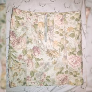 Denim Zipper Front Floral Body Con Skirt 80s 90s